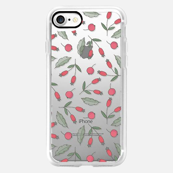 Vintage green leaves red berries floral pattern -