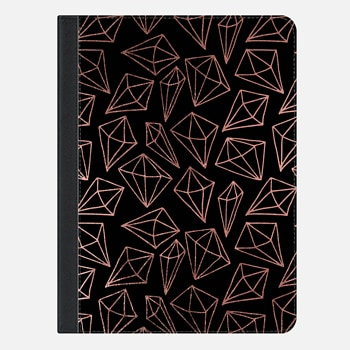 "iPad Pro 9.7"" Case Elegant black faux rose gold abstract diamond pattern"