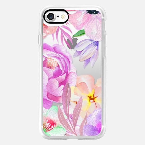 Botanical pink purple watercolor summer flowers -