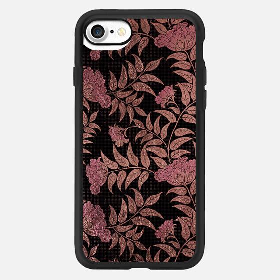 Elegant black pink faux rose gold floral pattern -