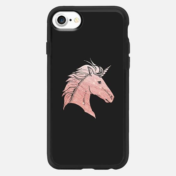 Elegant faux rose gold black fantasy mystical unicorn - Classic Grip Case