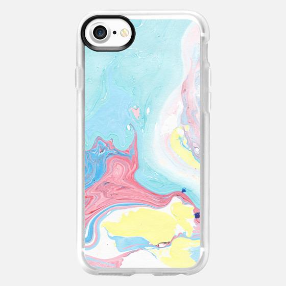 Modern elegant pink  teal yellow watercolor marble pattern -