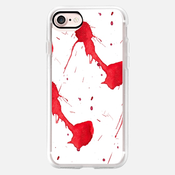 Modern abstract red watercolor paint splatters -