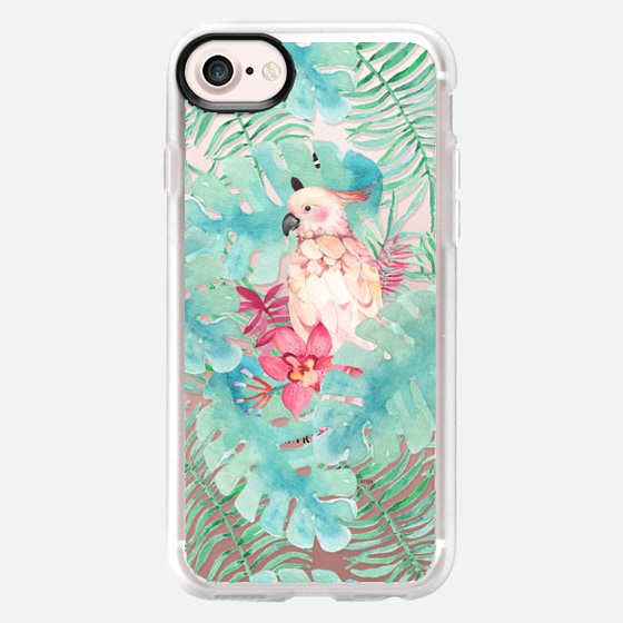 Tropical watercolor green pink bird floral leaves - Classic Grip Case