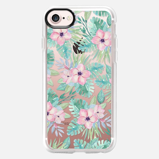 Blush pink green watercolor tropical floral - Classic Grip Case