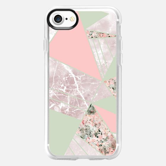 Modern blush pink green geometrical triangles - Classic Grip Case