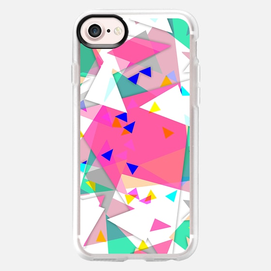 Geometrical colorful pink green white triangles - Classic Grip Case