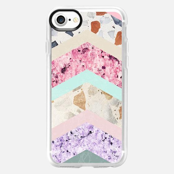Modern pastel pink lavender color block marble chevron - Classic Grip Case