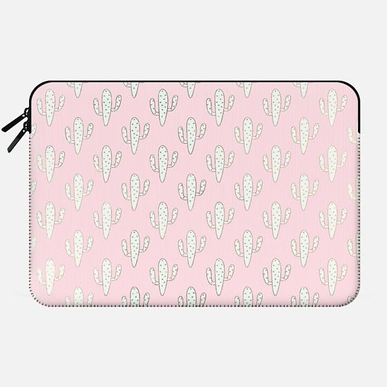 Modern blush pink faux gold cute cactus floral - Macbook Sleeve