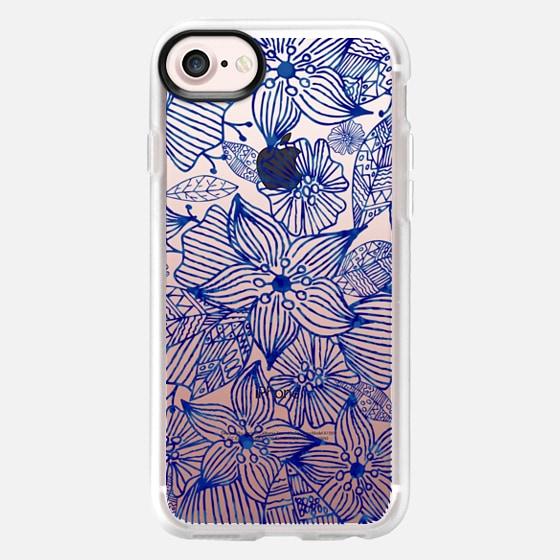 Hand painted royal blue white watercolor floral - Classic Grip Case