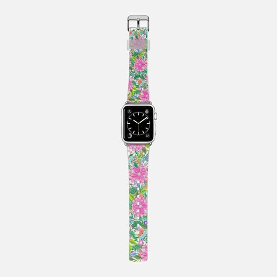Hand painted bold neon pink green watercolor flowers  -