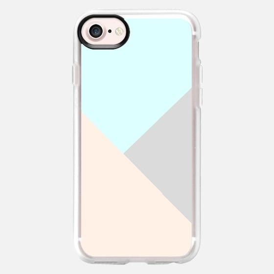 Pastel blue gray color block triangles geometrical - Classic Grip Case