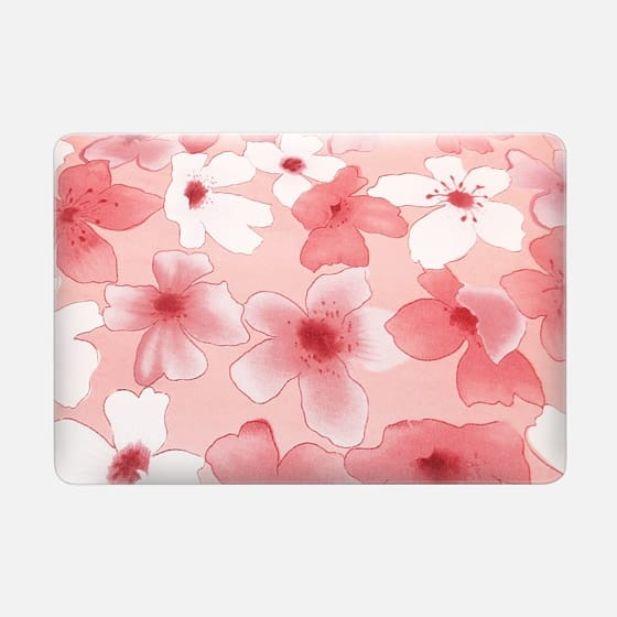 Modern white coral watercolor artistic flowers -