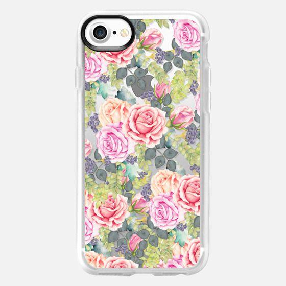 Vintage pink coral watercolor roses flowers pattern -