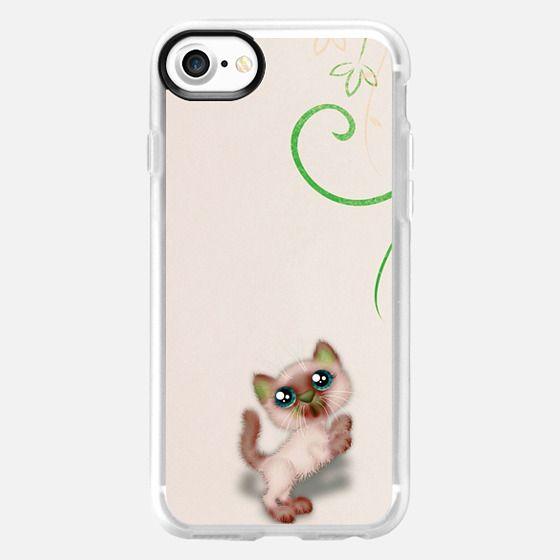 Cute brown white little cat illustration cartoon -