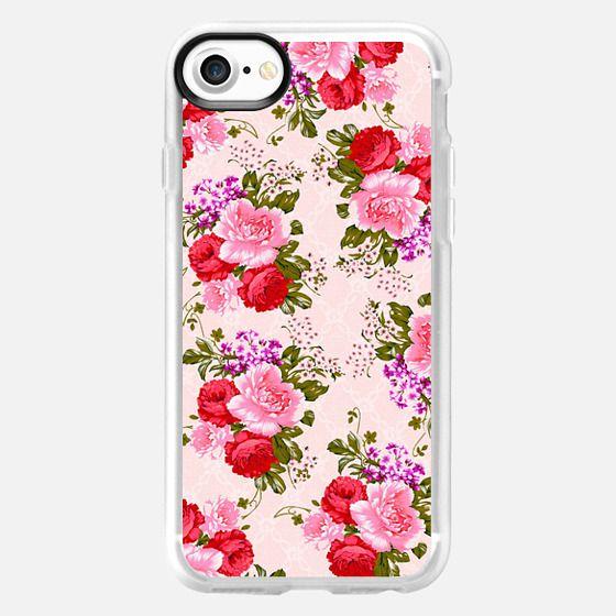 Vintage bright pink red roses elegant floral pattern -