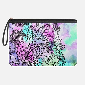 Tech Clutch - Medium  Artsy girly pink teal bohemian black floral pattern