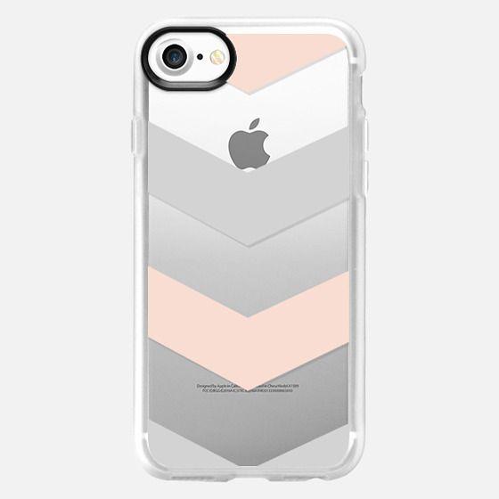 Modern blush pink gray geometric chevron - Classic Grip Case