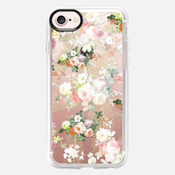 Chic pink coral roses flowers gold feathers pattern -