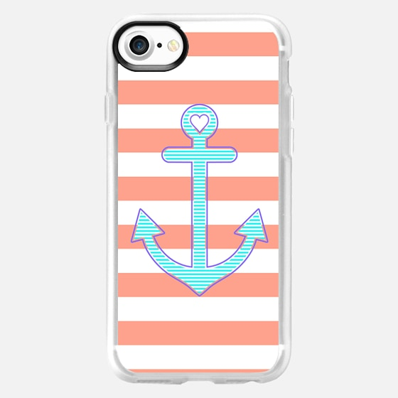 Coral Stripes Summer Love Anchor - Wallet Case