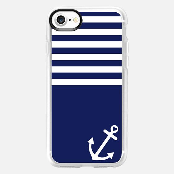 Navy Blue Love Anchor Nautical - Wallet Case