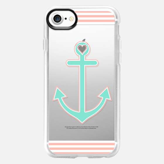 Peach and Mint Nautical Love Transparent  - Wallet Case