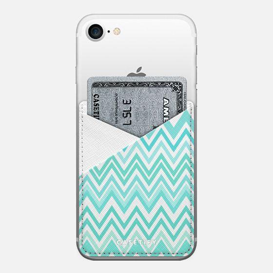 Mint Aqua Chevron Transparent - Saffiano Leather Phone Wallet