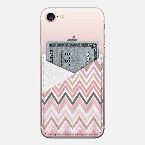 Nude Chevron Transparent - Saffiano Leather Phone Wallet