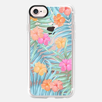 iPhone 7 Case Palm leaves floral transparent pattern