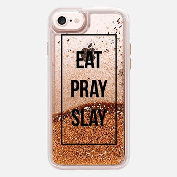 iPhone 7 Case Eat, pray, slay! black and white typography on transparent background