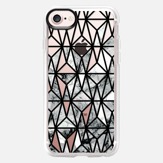 black and white Marble geometric tile pattern - Classic Grip Case