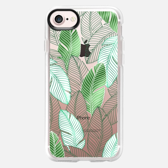 Transaprent green tropical leaves pattern - Classic Grip Case