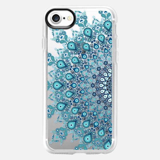 turquoise lace boho mandala on clear background - Classic Grip Case