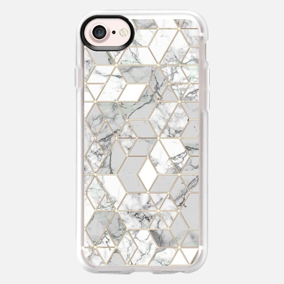 White marble hexagons minimal geometry in gold frame lines - Classic Grip Case