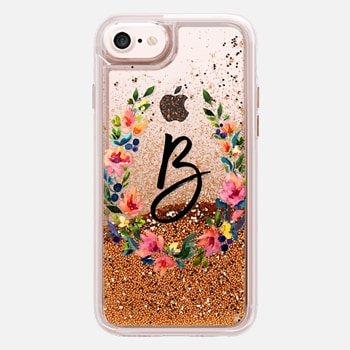 iPhone 7 Case Watercolor Floral Letter B