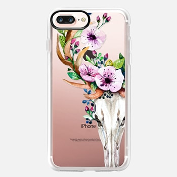 iPhone 7 Plus ケース Deer Head Skull and Floral