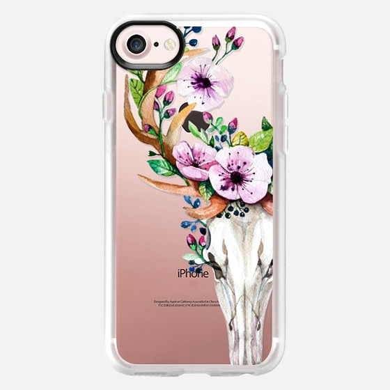 Deer Head Skull and Floral -