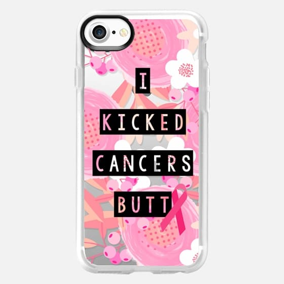 I Kicked Cancers Butt Block Floral Breast Cancer Awareness  - Classic Grip Case