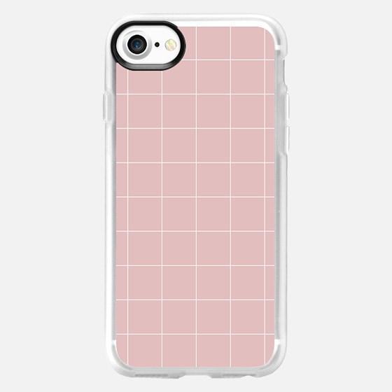 White Grid on Pale Pink - Wallet Case