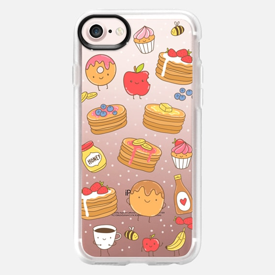 Cute breakfast. Pancakes, coffee cup, fruits, cupcakes, donut. Food illustration. -