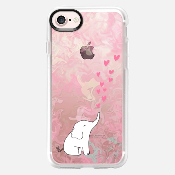 Cute Elephant. Hearts and love. Pink marble background. - Wallet Case