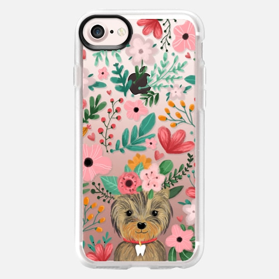 Cute yorkie dog. Yorkshire terrier with summer flowers and tooth necklace. - Classic Grip Case
