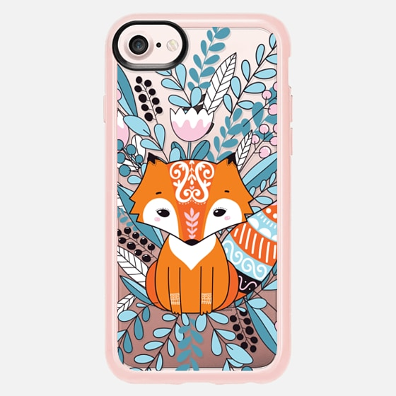 Ethnic Fox with flowers and leaves - Classic Grip Case