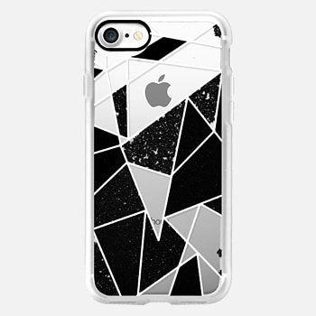 iPhone 7 ケース Black and White Rustic Painted Abstract Linear Geometric Triangles Pattern on Transparent Background