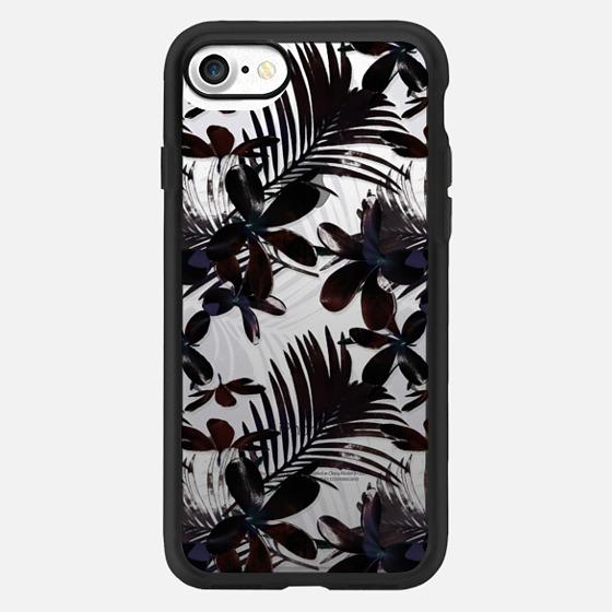 Black Tropical Flowers -
