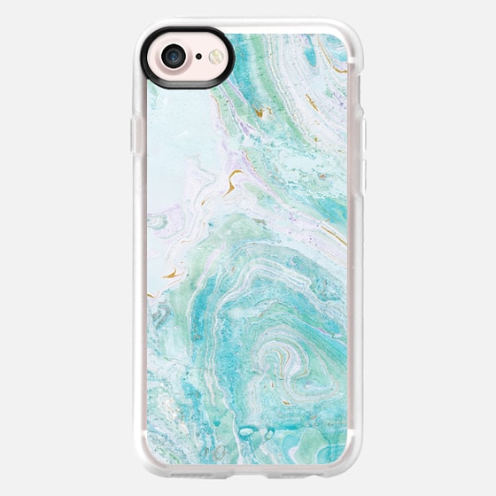 marble painting turquoise - Wallet Case