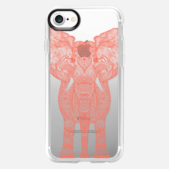 AZTEC ELEPHANT CORAL Crystal Clear Case -