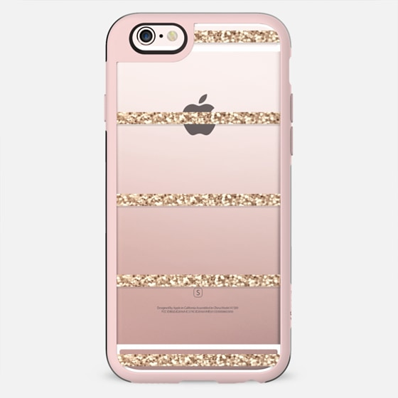 GATSBY GOLD STRIPES Crystal Clear iphone case - Glitter Case