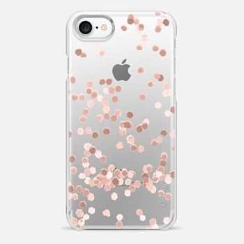 iPhone 7 Case LIMITED EDITION ROSE GOLD FAUX GLITTER TRANSPARENT by Monika Strigel for iPhone 6