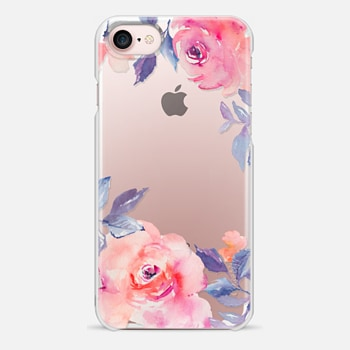 iPhone 7 ケース Cute Watercolor Flowers Purples + Blues